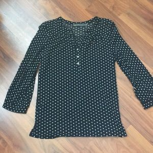 Black and white polka dot 3/4 sleeve blouse